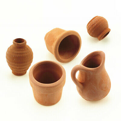5x Miniature  Clay Terracotta Plant Flower Pot Fit 1/12 Doll House Fairy House