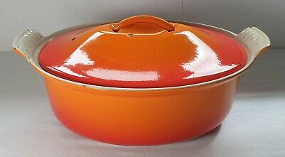 LE CREUSET/Cousances Cast Iron oval Casserole dish Orange no 26 - Dutch oven
