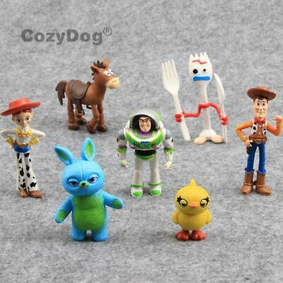 7 PCS Toy Story 4 Woody Lightyear Alien Forky Buzz Bunny Figure Cake Topper Toys