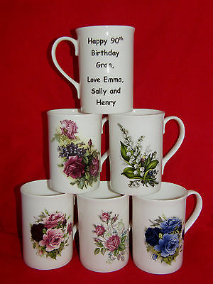 Personalised Vintage Floral Boxed Fine Bone China Mug, Personalised Message Mug