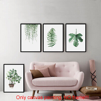 Modern Minimalist Green Leaf Canvas Art Print Wall Picture Home Decor