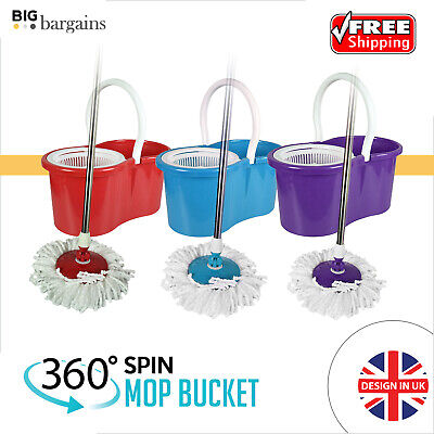 Mop Bucket Set with Spinning Rotating 360° Dry Head For Cleaning All Floor Type