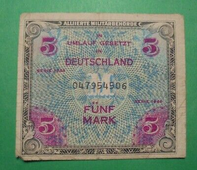 Allied Invasion Money For Nazi Geramany 1944 5 Marks.