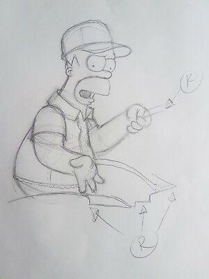 The Simpsons production sketch for animation cel. Homer. FREE POST.