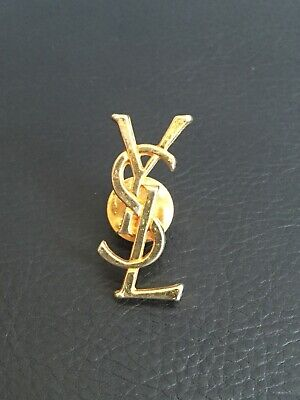 6207888e665 Yves Saint Laurent Brooch Paris France Pin Ysl Logo Bag Vintage Gold Color