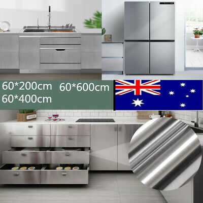 2M Self Adhesive Stainless Steel Brushed Paper Vinyl Film KitchenWallpaperDecor