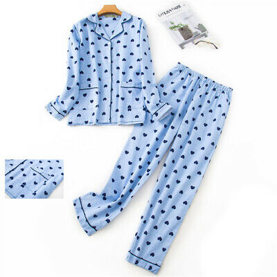 Ladies Warm Cotton Pyjamas Set Soft Brushed Flannel Wincy Collar Buttoned Xmas