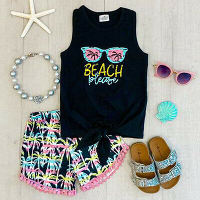US Toddler Kids Baby Girl Summer Beach Tops T-shirt  Shorts 2Pcs Outfits Clothes