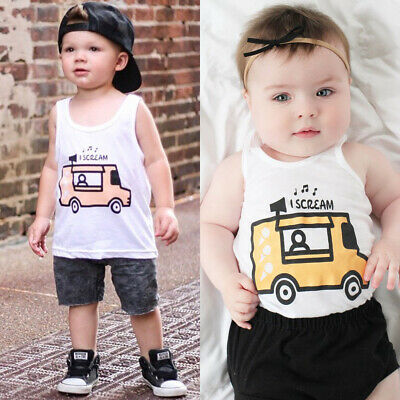 Newborn Kids Baby Boy Clothes Boys Outfits Sets Short T-Shirt + Pants Car Tops