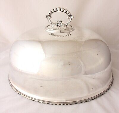 Large Antique Silver Plate Meat Food Cover. Big Turkey Dome William Hutton