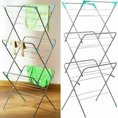 3-Tier Clothes Airer Extendable Steel Indoor Laundry Drying Rack Stand Organizer