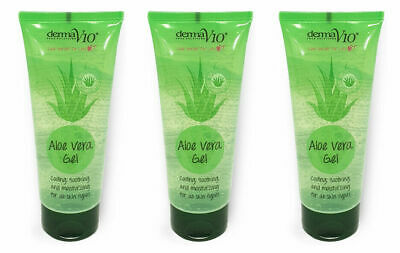 3 x Derma V10 Aloe Vera Gel 100ml Cooling Soothing Moisturising Vegan