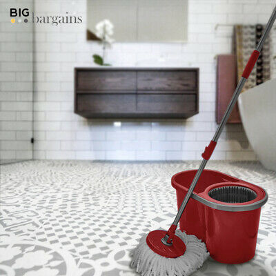 Magic Rotating Spinning 360° Microfiber Mop Bucket Floor Cleaner Home Cleaning