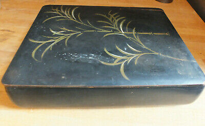 Antique Vintage lacquer Box Japanese Black with bamboo plant decoration