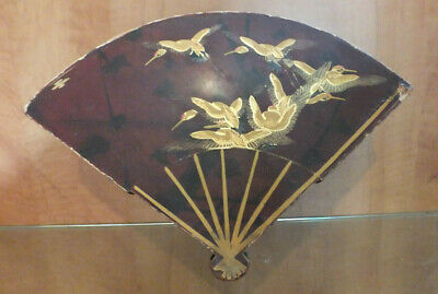 Antique Vintage lacquer Box Japanese Fan shape Brown with gold birds