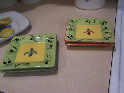 2 Pfaltzgraff PISTOULET Finger Food Plates red yellow