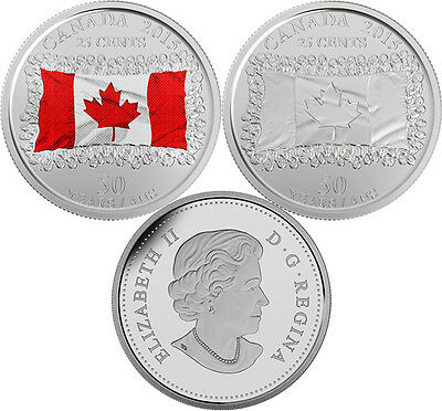 CANADA 2015 New 2 x 25 cent Canadian Flag NO COLOR and COLOR (BU From roll)