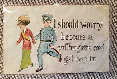 Political Postcard Early 1900s Women's Right To Vote Suffragette Policeman escor
