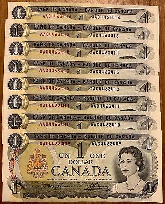 1973 - 8 Consecutive Canadian One Dollar Banknote, 1$ - Bank Of Canada