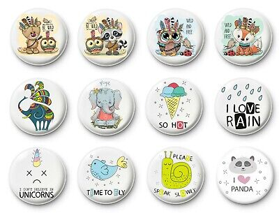 Button badges pin collectable cute animals messages quotes be wild i love rain