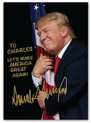 Personalized President Donald Trump Autographed 5x7 Photo - Frame Hug Flag MAGA