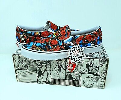 VANS X MARVEL Limited Edition Spiderman Classic Slip Ons Mens Size UK 11