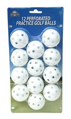 OnCourse Practice Plastic Perforated Golf Balls - 12 Pack - White