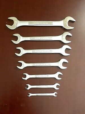Vintage =V= Craftsman =VV= Double Open End Wrench 7 Piece Set Forged Steel USA