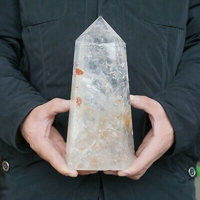 "6.07LB 9"" Natural Clear White Quartz Crystal Point Tower Polished Healing"