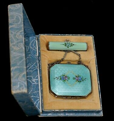 Lovely Antique ENAMEL GUILLOCHE Compact/ Lipstick Case TANGO SET in Original BOX