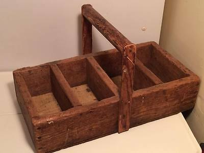 Antique wooden folk art basket tote