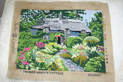 Vintage Completed Woolwork Canvas Thomas Hardy's Cottage.