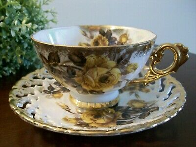 Vtg Royal Sealy China Tea Cup Reticulated Saucer Yellow Rose Pearl Luster Gold