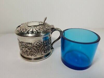 Antique Silver on Copper Condiment Mustard Container with Blue Glass Liner