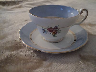 Foley Cup and Saucer, English Bone China, Floral, Pale Blue, Tea