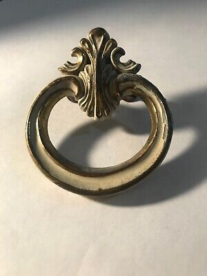 "Single Vintage Brass French Provincial Rounded Drawer Pull 2 1/4"" wide x 2 5/8"""