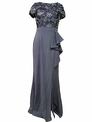 New Womens Adrianna Papell Floral Sequin Darted Slit Ruffle Dress Size 4 Gray