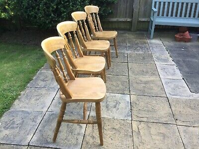 Set of 6 Beech Fiddleback Farmhouse Dining Chairs including 2 Carvers.