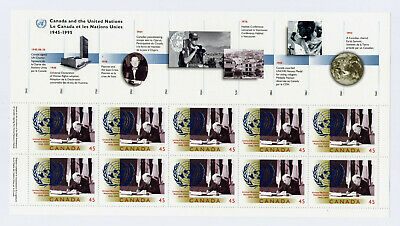 Canada Sc1584 Canada And The United Nations 50Th Anniversary Sheet Mnh Fv$4.50