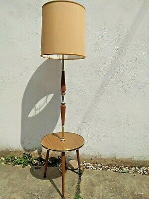 VINTAGE RETRO MID CENTURY TRIPOD STANDARD LAMP with DRINKS TABLE & LARGE SHADE