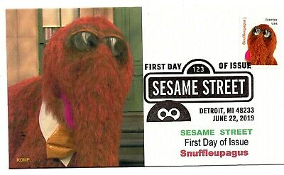 Sesame Street,2019  stamp,FDC,First Day Cover,Snuffleupagus by ROMP Cachets