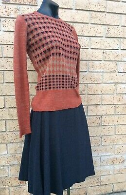 Vintage Original 60s Grey Flared Mini Skirt & Tan Russet Skivvy Jumper Size 10.