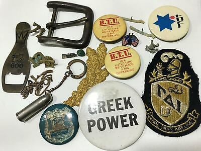 Vtg Lot Estate Grandpa US Military Buttons Badge Junk Drawer Collectibles