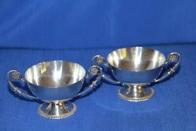 Irish Hallmarked Antique Sterling Silver Pair of Trophy Shaped Open Table Salts