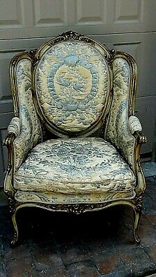 Antique French Louis Xvi Style Armchair W/Silk Remnants Upholstery&Gilt Frame.