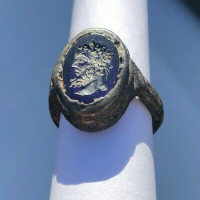 Roman Ancient Silver Plated With Lapis Lazuli Stone Emperor Ring- R0096
