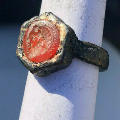 Roman Ancient Silver Plated Agate Emperor Ring- R0097