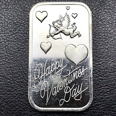 Happy Valentines Cupid & Hearts 1 oz .999 Fine Silver Art Bar SilverTowne (2028)