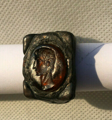 Ancient Roman  Bronze With Amber Emperor Ring R0026
