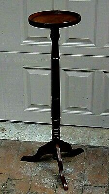Vintage French Walnut Wood Carved Lacquered 3 Legs Plant Stand